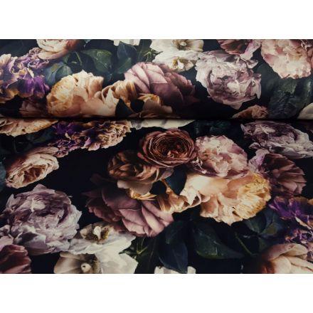 Samt Flowers schwarz/beige/altrosa