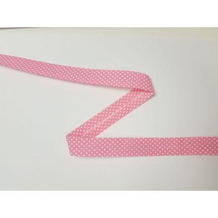 Schrägband Dotties rosa/weiss