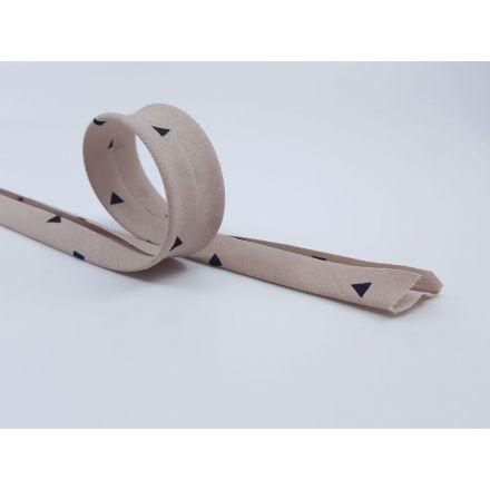 Schrägband mit Dreiecken taube/schwarz