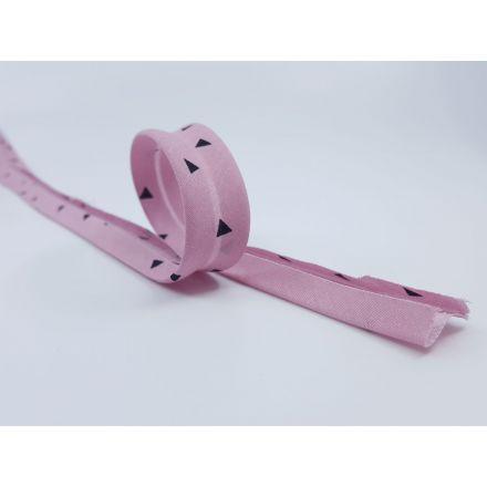 Schrägband mit Dreiecken altrosa/schwarz