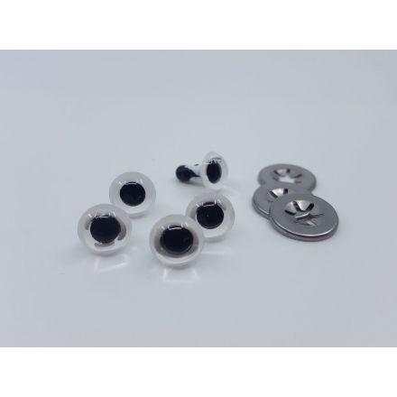 Sicherheits Augen weiss/schwarz 10mm