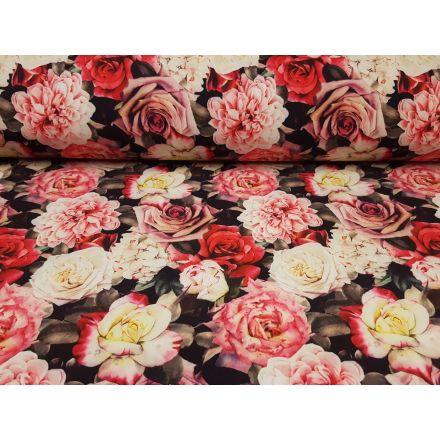 Softshell Rosen schwarz/creme/rosa