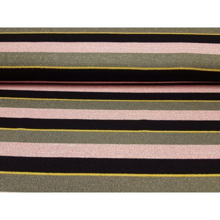 Sparkling Stripe rosa-schwarz-olive-gold