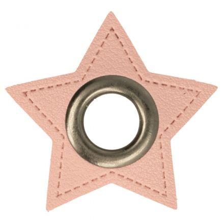 Stern Kunstleder Ösenpatch 8mm rosa/altnickel