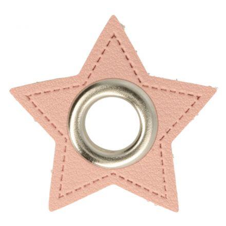 Stern Kunstleder Ösenpatch 8mm rosa/silber