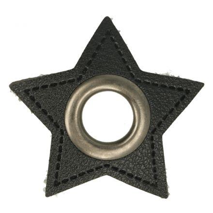 Stern Kunstleder Ösenpatch 8mm schwarz/altnickel