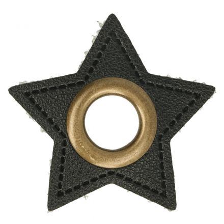 Stern Kunstleder Ösenpatch 8mm schwarz/bronze