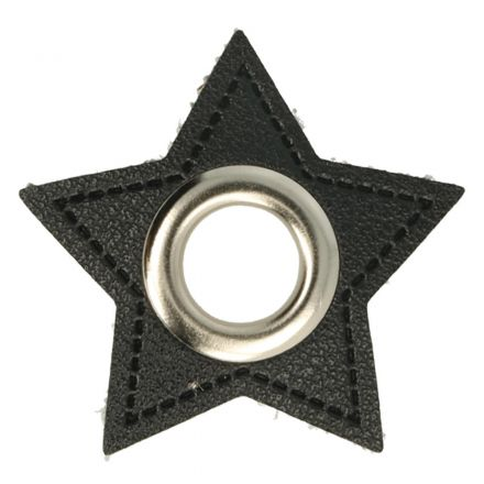 Stern Kunstleder Ösenpatch 8mm schwarz/silber
