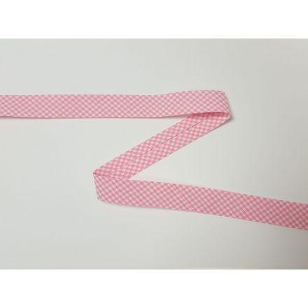 Vichy-Karo Schrägband rosa/weiss