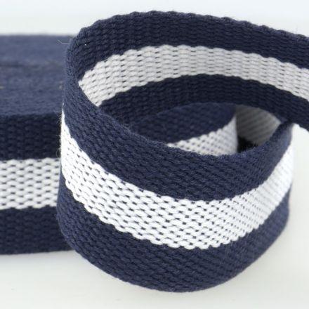 zweifarbiges Gurtband 40mm blau/weiss