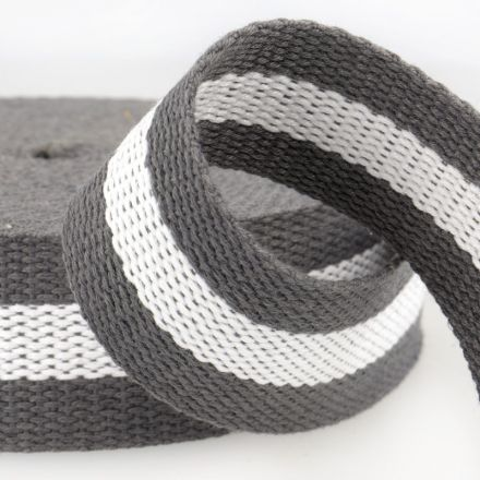 zweifarbiges Gurtband 40mm grau/weiss