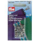 Prym Hacken und Augen, rostfrei Messing Nr. 2    Packungsinhalt: 12 Stück Farbe: Silberfarbig
